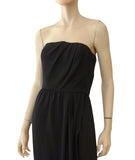 YVES SAINT LAURENT Vintage Strapless Black Crepe Evening Dress Gown 38 US 2