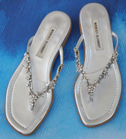 MANOLO BLAHNIK 37 Embellished Silver Leather Low-Heel Thong Sandals 6.5