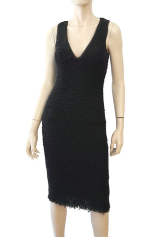 KAUFMANFRANCO Sleeveless Black Wool Boucle V-Neck Sheath Dress 42 US 4
