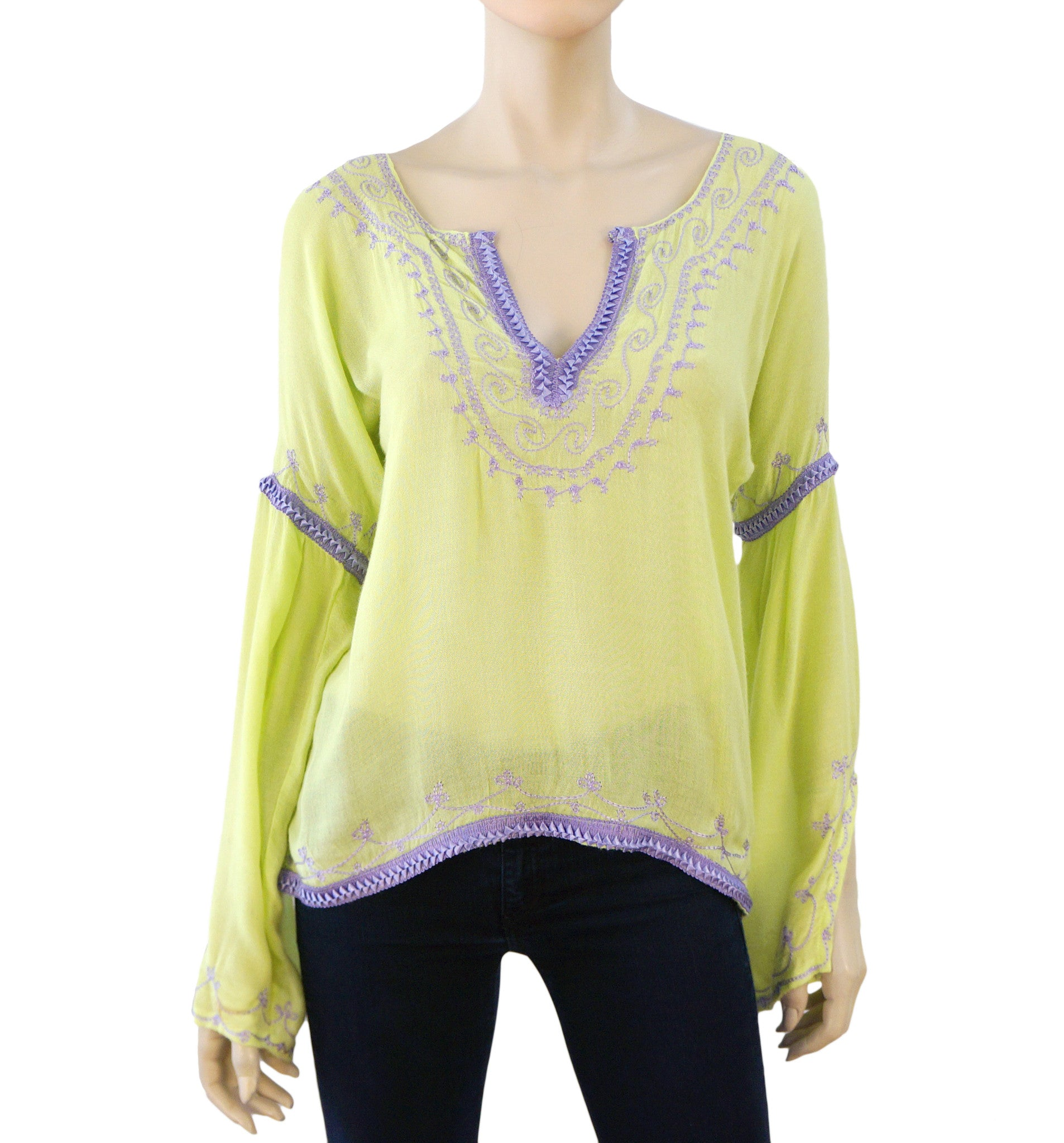 75ad56d56b2b8e DONALE ST. BARTH Yellow Green Cotton Gauze Top Cover-Up Blouse One ...