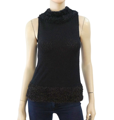 MOSCHINO CHEAP & CHIC Black Cotton Sweater Stretch Knit Top US 2 4