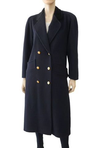 RALPH LAUREN VINTAGE Navy Cashmere Blend Double Breasted Coat S