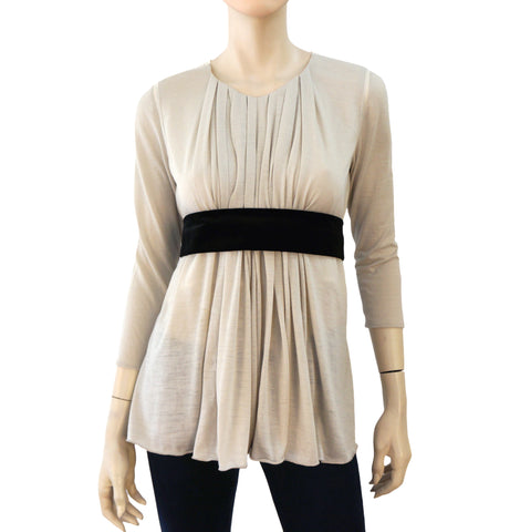 CHLOE Contrast Ribbon Pleated Knit Top, XSmall