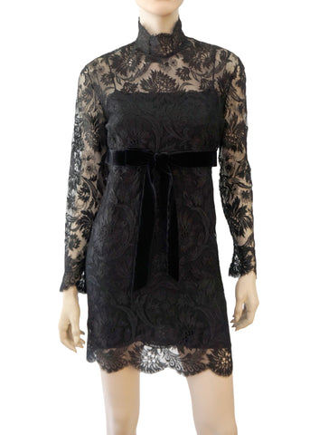 f287da5fd VALENTINO Women's Black Floral Lace Mini Dress 42 ...