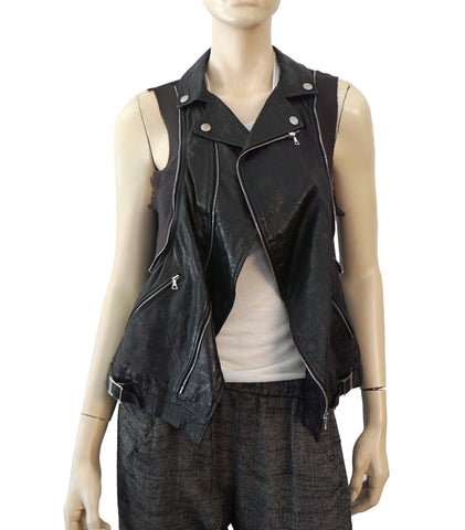 UNDERCOVER JUN TAKAHASHI Black Leather Ribbed Jersey A-Line Biker Vest M