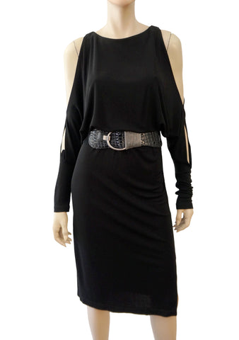 MICHAEL KORS COLLECTION Womens Cold Shoulder Long Sleeve Sheath Dress 2 NEW