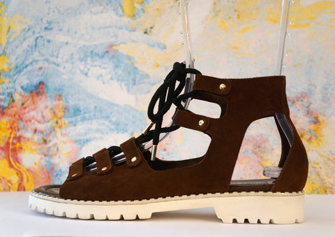 JIMMY CHOO 39.5 Brown Suede Lace Up Gladiator Sandals Flats 9 NEW IN BOX