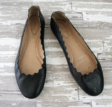 CHLOE 35 Lauren Black Leather Scalloped Ballet Flats 5