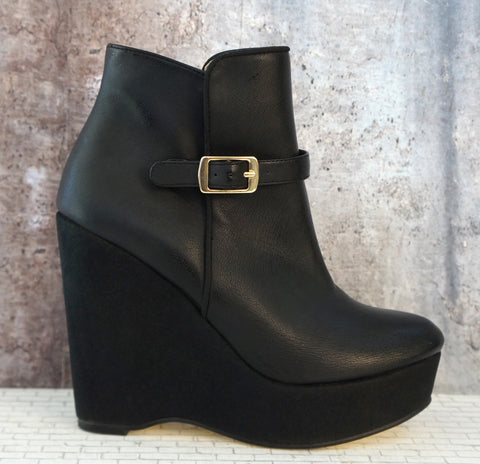 STELLA MCCARTNEY 36 Women's Wedge Boots Black Vegan Leather Suede Ankle 5.5 NEW