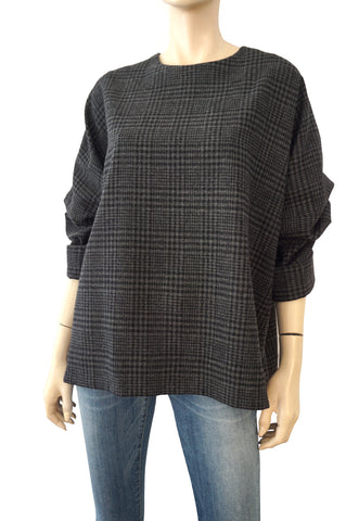 LANVIN 2015 Wool Plaid Charcoal Gray Black Drop Sleeve Boxy Top