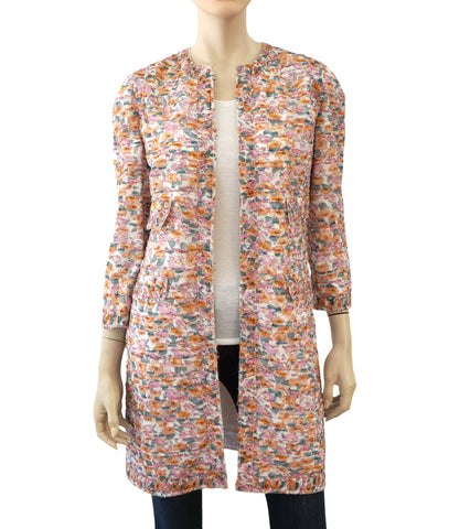 DOLCE & GABBANA Pleated Floral Silk Jacket, IT 42 / US 6