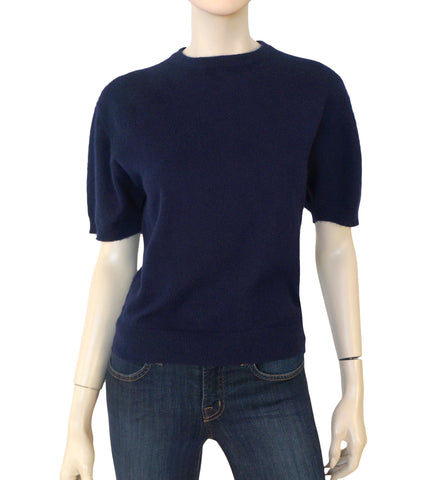TSE Navy Cashmere Short Sleeve Pullover Sweater L
