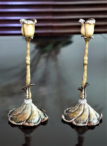 JAY STRONGWATER Twisted Tulip Candlesticks Candle Holders Pair 9.5 Inches
