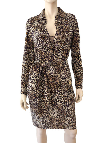 MOSCHINO Long Sleeve Animal Print Silk Shirt Dress 40 US 4 6