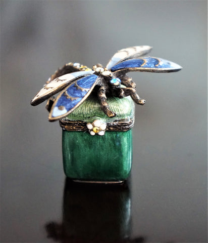 JAY STRONGWATER Emerald and Sapphire Enamel Crystal Dragonfly Trinket Box