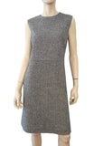 VALENTINO Sleeveless Black White Herringbone Wool Knee Length Dress 10