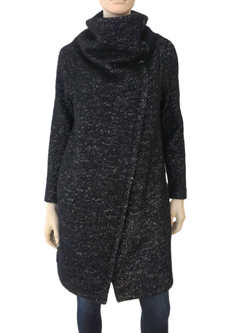 ISABEL DE PEDRO Black Wool Tweed Asymmetric Funnel Neck Coat 44 US 8 NWT
