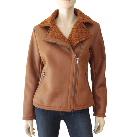 AMS PURE Butterscotch Brown Vegan Shearling Leather Biker Jacket 10 NEW $550MSRP