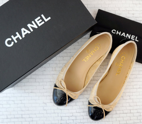 CHANEL 36.5 Women's Black Patent Leather Beige Lace Ballet Flats 6