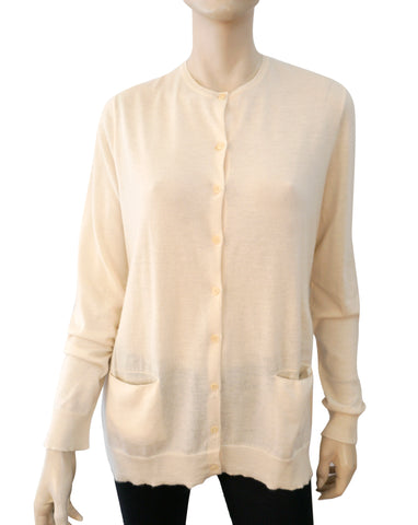 RALPH LAUREN COLLECTION Ivory Cashmere Long Line Cardigan Sweater L