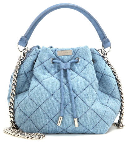 STELLA McCARTNEY Eco Denim Small Quilted Bucket Bag