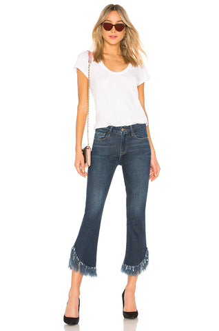 FRAME Le Crop Mini Boot Shredded Crop Hem Jeans Bayberry 25 NEW WITH TAGS