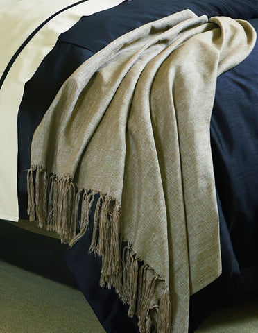 The WELL DRESSED BED Gatsby Silvered-Mocha Hand Knotted Throw BlanKet 71 x 52