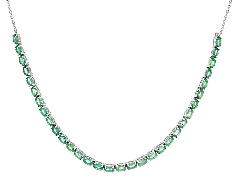 Green Zambian Emerald Sterling Silver Tennis Necklace 6.59 ctw NEW WITH TAGS