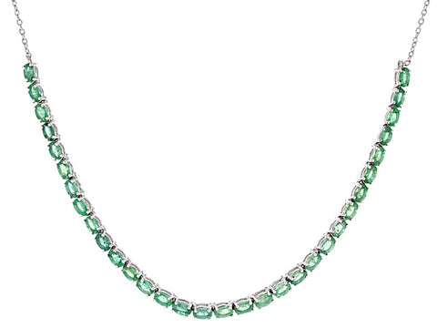 Green Zambian Emerald Sterling Silver Tennis Necklace 6.59 tcw NEW WITH TAGS