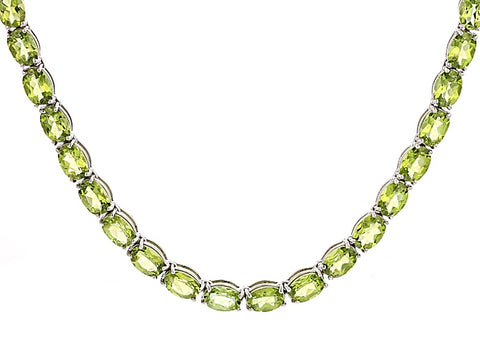 GREEN PERIDOT Sterling Silver 18 inch Tennis Necklace 52.95ctw JTV NWT $296