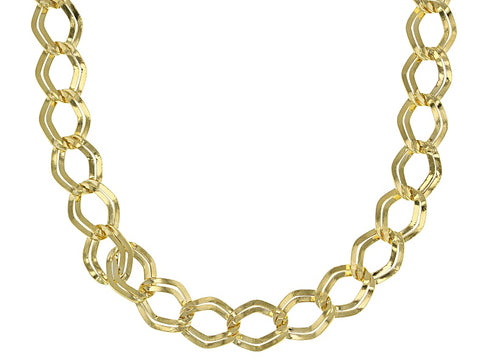 14k Yellow Gold Hollow Marquise Link Necklace 20 inch JTV $655 NEW 6.3 grams