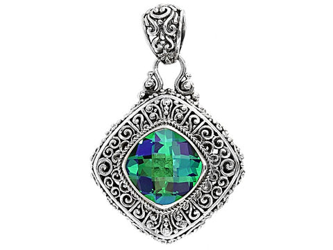 ARTISAN COLLECTION of BALI Rainbow Green Quartz Sterling Silver Pendant 16g BNWT