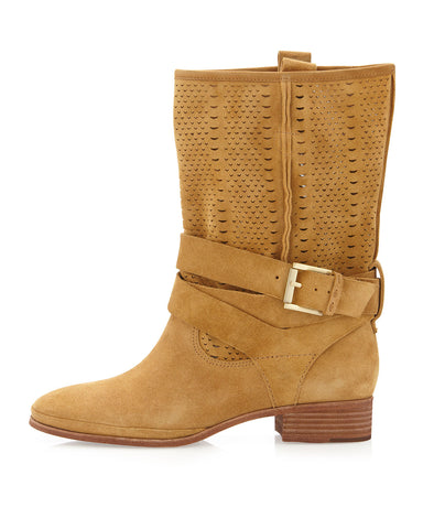 BELLE by SIGERSON MORRISON Who2 Lasercut Tan Suede Short Biker Moto Boots 8.5