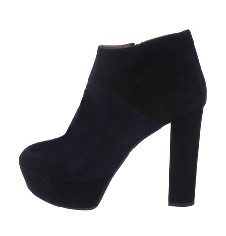 MARNI 40.5 Color Block Black Navy Suede Platform Ankle Boots Booties 9.5