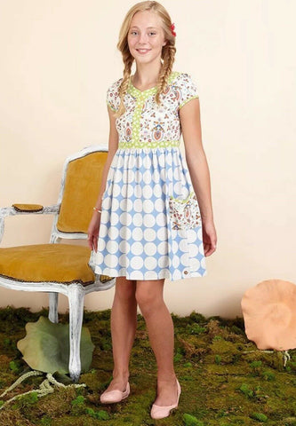 MATILDA JANE 435 Blue White Dot Once Upon A Time Allegory Dress 12