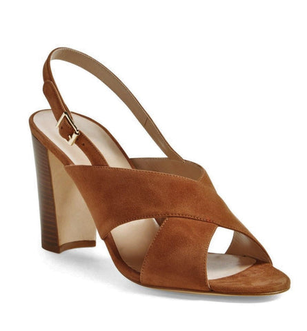 MANOLO BLAHNIK 39 Nea Brown Suede Slingback Sandals 8.5
