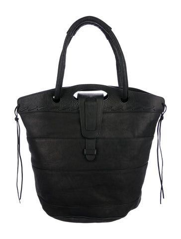 NEWBARK Large Striped Black Leather Tote Weekend Bag