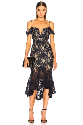 NICHOLAS Rubie Navy Lace Corset Bodycon Off Shoulder Ruffle Hem Midi Dress NEW