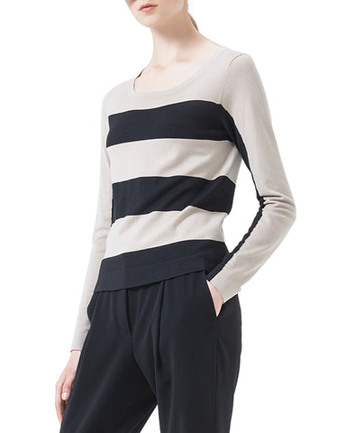 AKRIS PUNTO Black Ivory Striped Wool Knit Sweater FR48 US 16