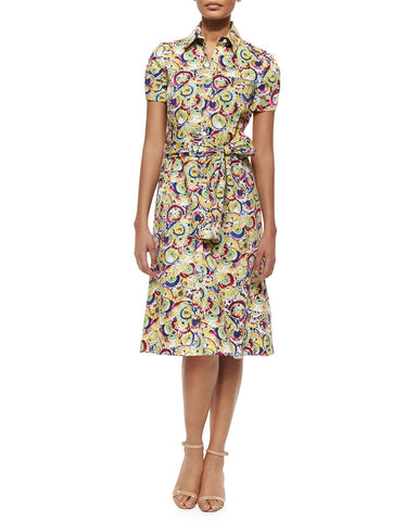 CAROLINA HERRERA Parasol Printed Belted Cotton Shirt Dress 6