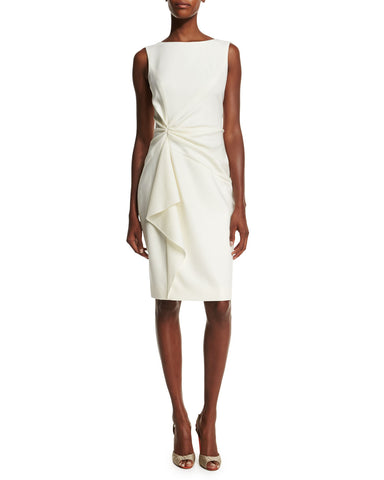 CAROLINA HERRERA Sleeveless Ruffle Front Ivory Wool Crepe Sheath Dress 12  NWT
