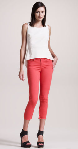 RAG & BONE Vermillion Red Stretch Denim Zipper Capri Skinny Jeans 26