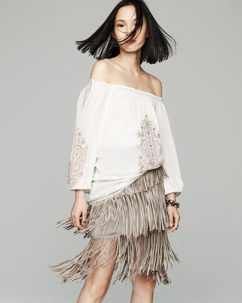 LaMARQUE Sand Beige Suede Layered Fringe Skirt 4 NEW WITH TAGS