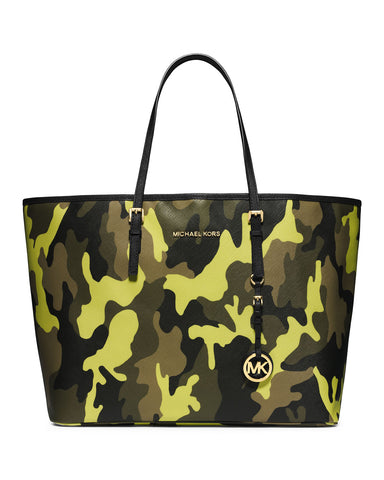 MICHAEL MICHAEL KORS Jet Set Acid Yellow Camo Travel Tote Bag