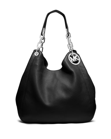 MICHAEL MICHAEL KORS Fulton Large Black Leather Shoulder Tote Bag NEW WITH TAGS