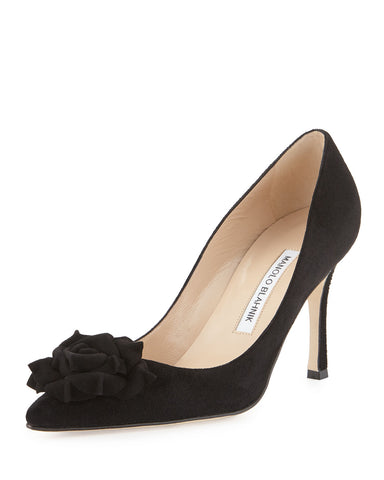 MANOLO BLAHNIK 36 Lisa Black Suede Flower Pumps Heels 5.5 NEW IN BOX