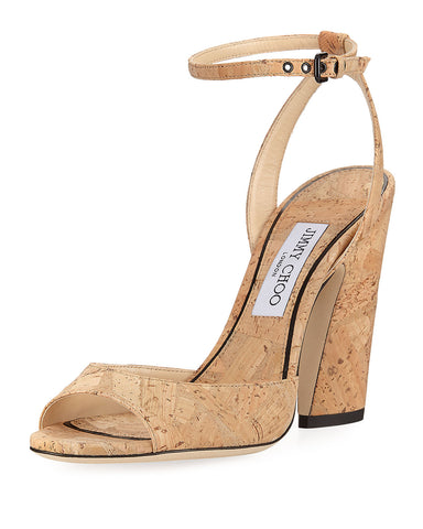 JIMMY CHOO 40 Miranda Cork Ankle Wrap Open Toe Sandals Heels 9.5 NEW