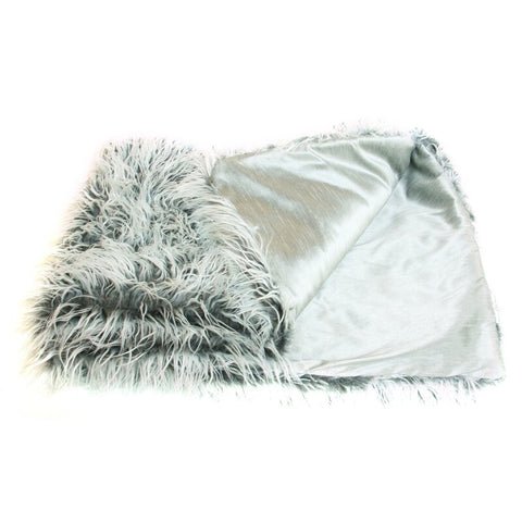 THE WELL DRESSED BED Gray Prestige Faux Mongolian Lamb Throw Blanket 80 x 53
