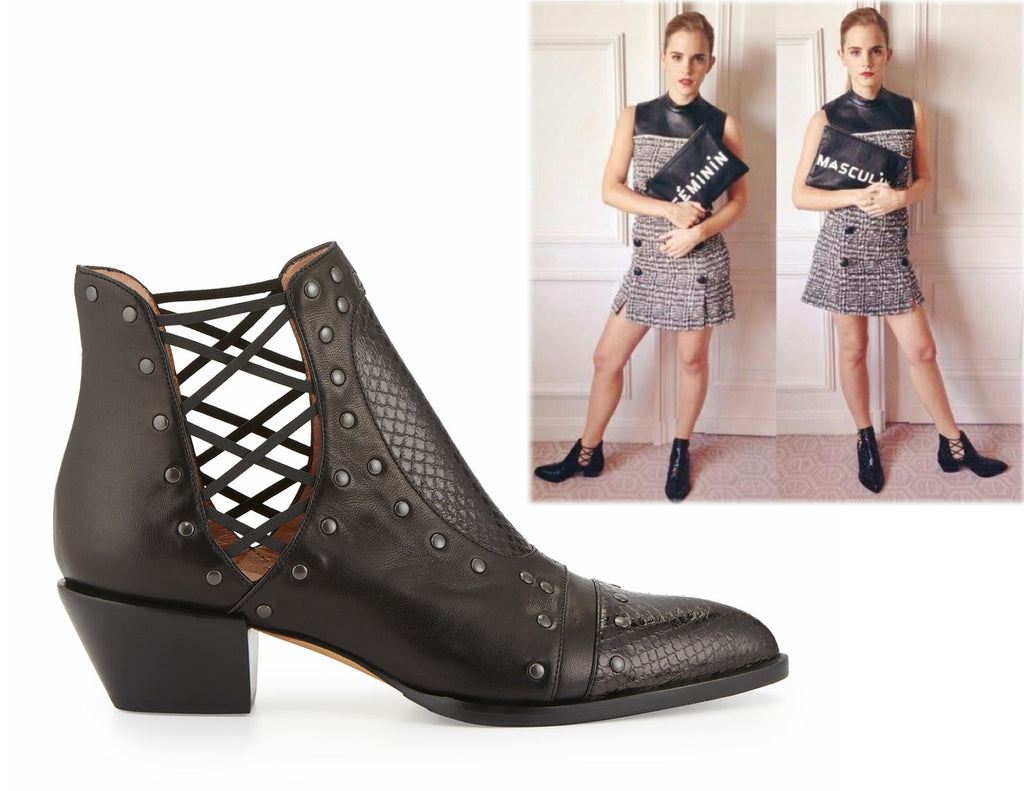 ALEXA WAGNER 35 Doutzen Studded Black Leather Cutout Ankle Boot Bootie 5