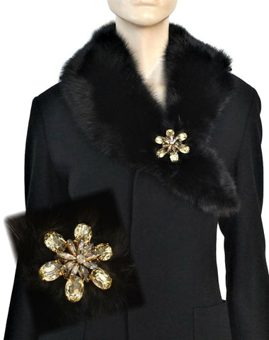 BLACKGLAMA Mink Collar Scarf ERICKSON BEAMON 24K Gold Plated Crystal Brooch